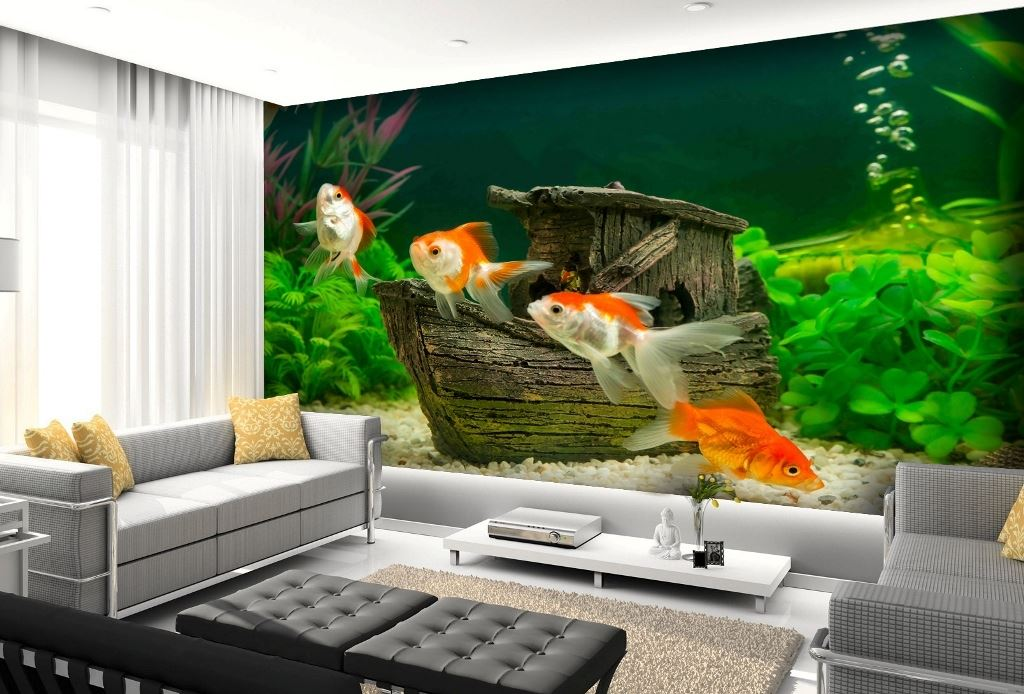 Aquarium Wallpapers Design Fish Aquarium Underwater Wall Pictures Photos Restaurant Shops Kids Bedroom Washable Wall Covering Sizes Shop Online Cheap Best Price